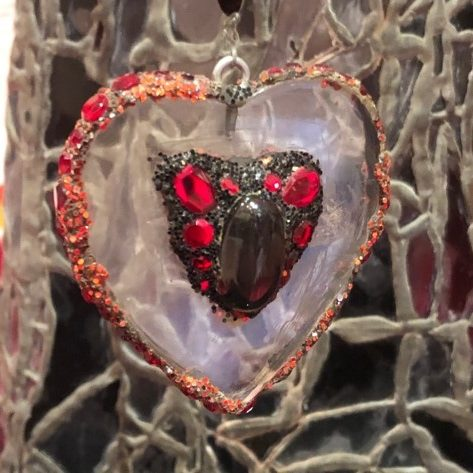 Detail, Lulu Fountain, heart, Gallery 1, Andrew Logan Museum of Sculpture, Berriew, Powys, Wales